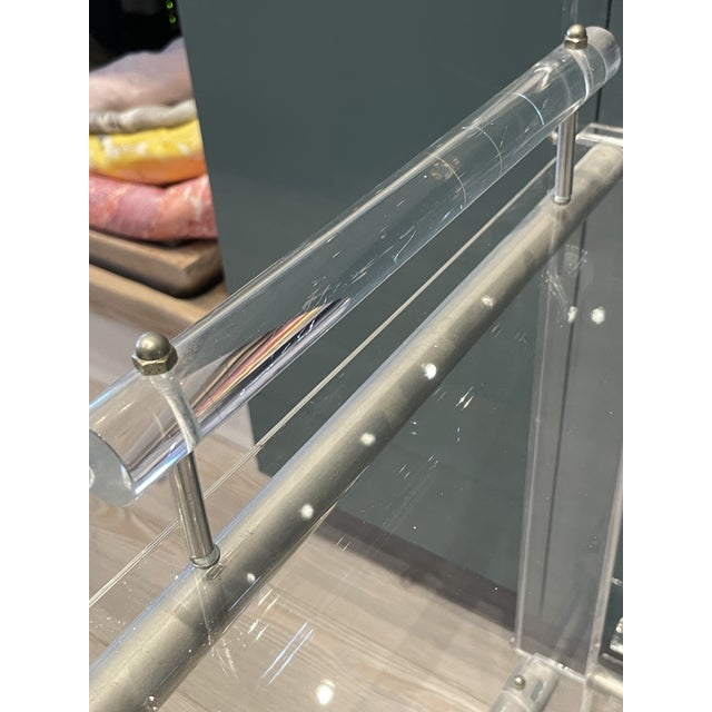 Plastic Hollis Jones Two-Tier Lucite Bar Cart With Removable Trays For Sale - Image 7 of 11