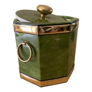 Midcentury Green Ice Bucket W Brass Loop Handles For Sale