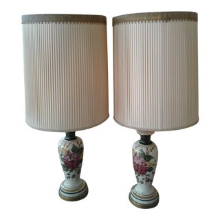 Antique Hand Painted Table Lamps - a Pair For Sale