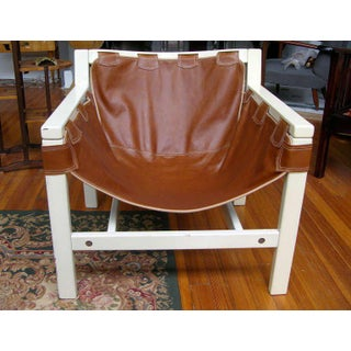 1970s Vintage Italian Safari Brown Leather and White Lacquered Chairs- a Pair Preview