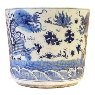 Chinese Oriental Porcelain Blue & White Dragon Pot