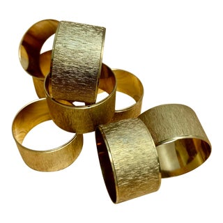 Midcentury Gold Toned Napkin Rings, Set of Eight For Sale