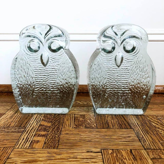 1960s Original Mid Century Modern Blenko Owl Bookends - a Pair For Sale - Image 5 of 8
