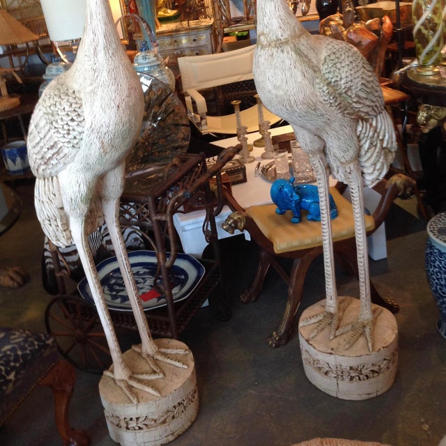 Grandly Scaled Pair of Vintage Carved Cranes For Sale - Image 13 of 14