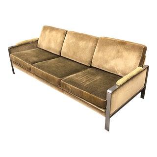 1970s Mid-Century Modern Milo Baughman Flatbar Mohair Sofa