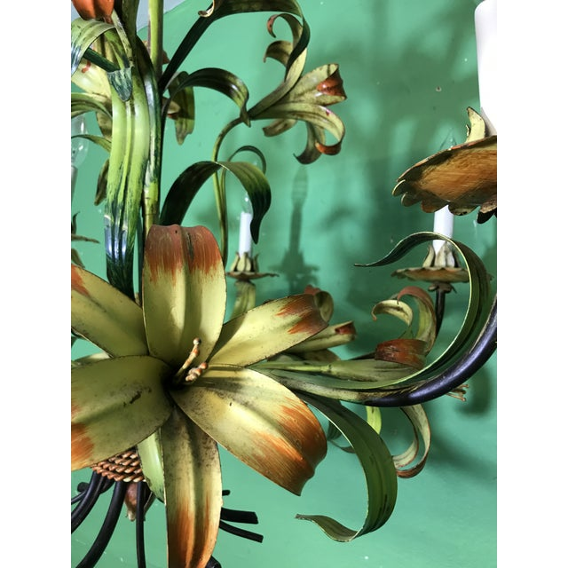 Vintage Italian Hand Painted Tiger Lily Tole Chandelier For Sale - Image 9 of 13
