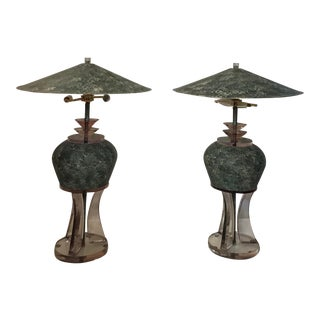1980s Mid-Century Modern Van Teal Lucite Table Lamps Metal Shades - a Pair For Sale