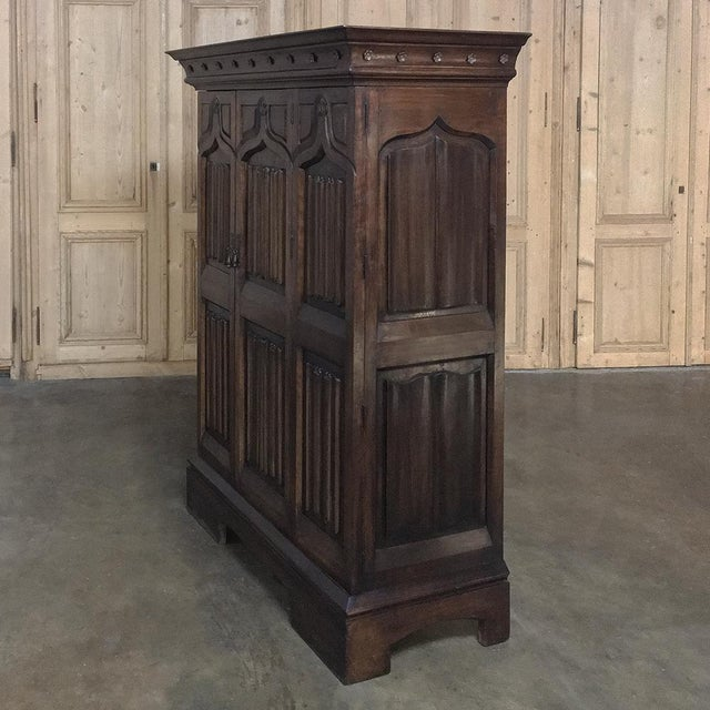 French 19th Century French Gothic Solid Walnut Armoire ~ Bonnetiere For Sale - Image 3 of 13