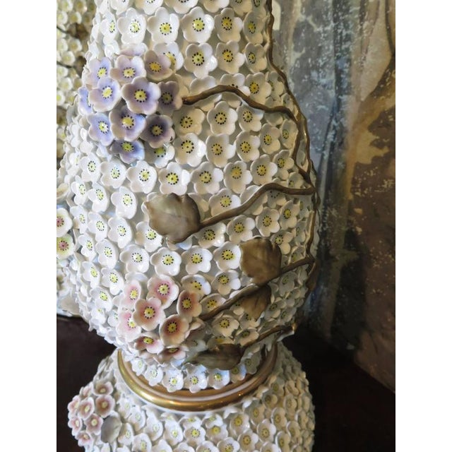 German Schneeballen Porcelain Covered Lamps - a Pair For Sale In Houston - Image 6 of 11