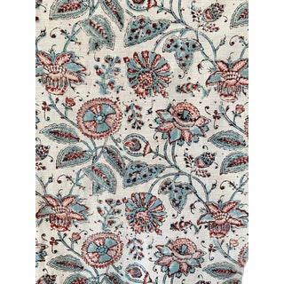 Kalamkari Fabric Blue And Red Block Printed 19th Century Indienne Design For Sale