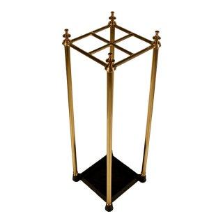 Mid-Century Modern Brass Iron Umbrella Stand For Sale