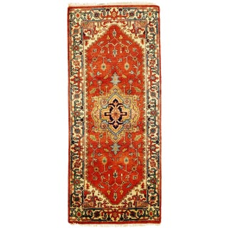"""Traditional Pasargad Ny Serapi Design Hand-Knotted Rug - 2'8"""" X 6'1"""" For Sale"""