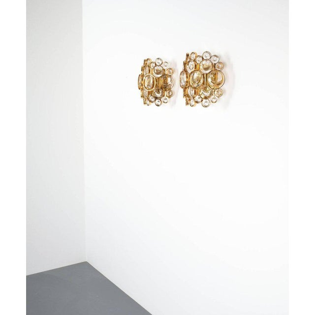 Brass Pair of Gold-Plated Brass and Crystal Glass Wall Lamps Sconces by Palwa, 1960 For Sale - Image 7 of 8