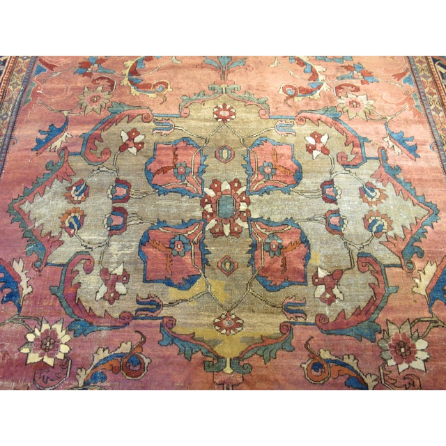Islamic Antique Persian Mahal Carpet For Sale - Image 3 of 9