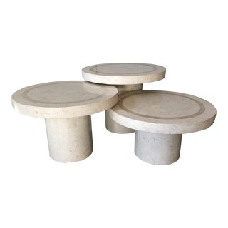 Vintage Maitland-Smith Tessellated Fossil Stone Tables, Set of 3