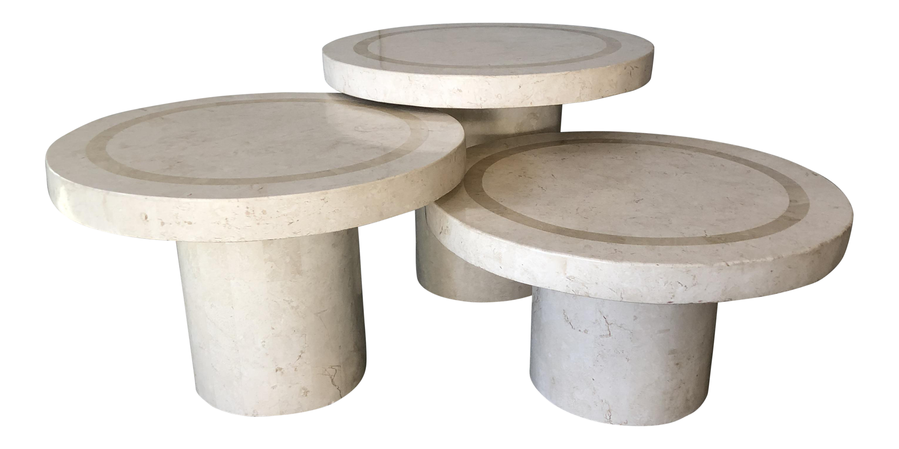 Vintage Maitland Smith Tessellated Fossil Stone Tables, Set Of 3