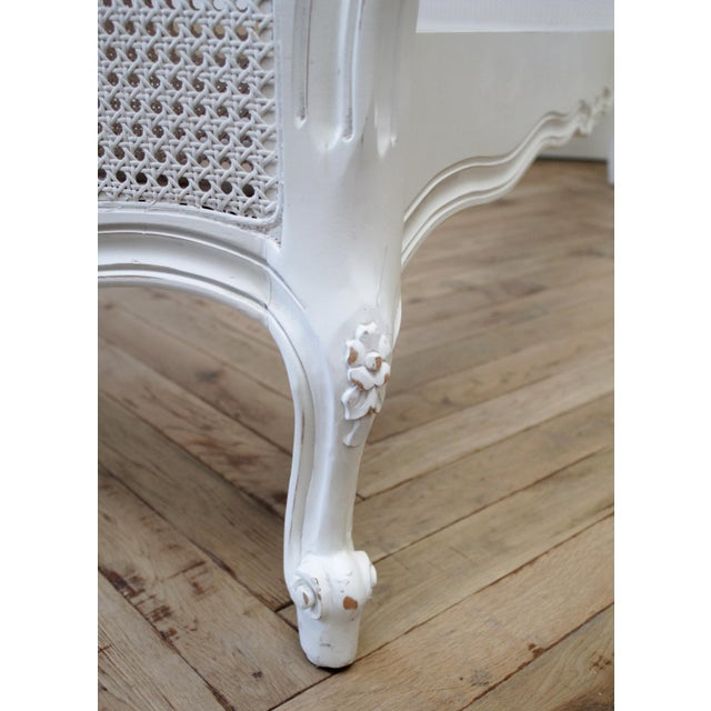 Reproduction Twin Carved and Painted Louis XV Style French Bed With Cane For Sale - Image 11 of 12