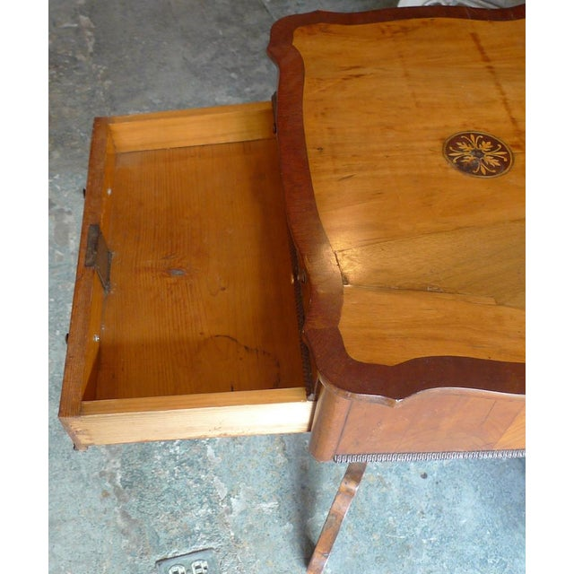 French 19th Century French Two Drawer Sewing Table With Inlay Top For Sale - Image 3 of 13