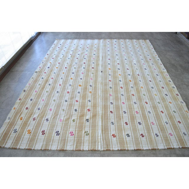 """Vintage Anatolian Braided Rug Hand Woven Cotton Small Rug Sofreh - 6'8"""" X 8'6"""" For Sale - Image 11 of 11"""