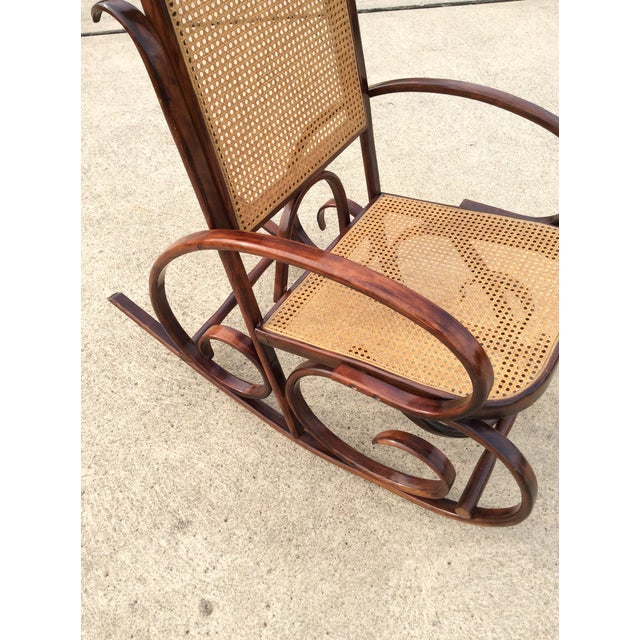 Thonet Mid Century Luigi Crassevig Thonet Style Bentwood Rocker For Sale - Image 4 of 12