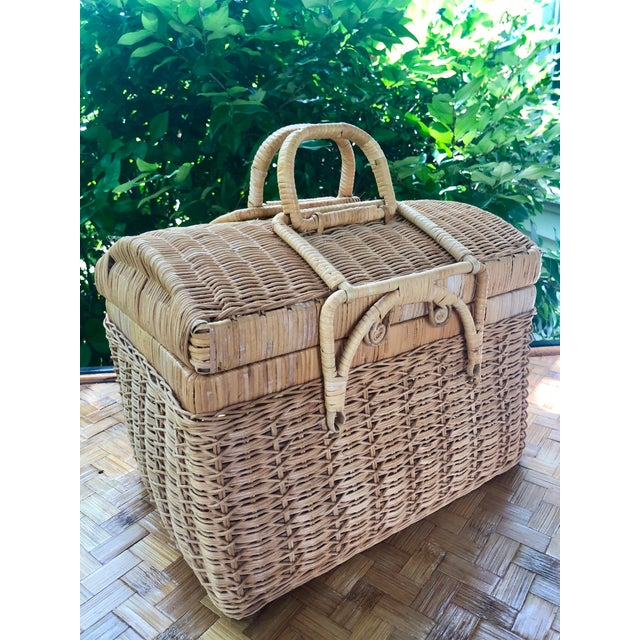 Boho Chic 20th Century Boho Chic Natural Woven Wicker Picnic Basket For Sale - Image 3 of 11