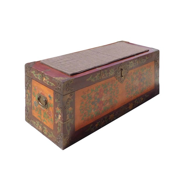 Floral Orange Brown Wood Trunk Bench Ottoman - Image 2 of 6