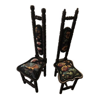 1910s Antique Schumacher Custom Upholstery Prayer Chairs- A Pair For Sale
