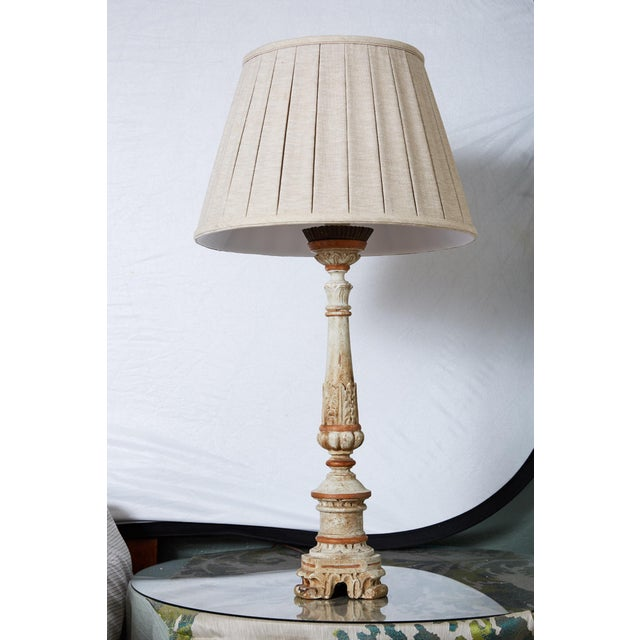 Louis XVI Carved and Painted Alter Candlestick Lamp For Sale - Image 9 of 9
