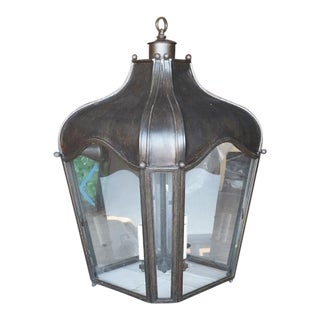 Dennis & Leen Oversize Iron and Glass Navarre Lantern Light Fixture For Sale