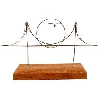 1970s Mid Century Modern Whimsical Golden Gate Bridge Wire Sculpture For Sale
