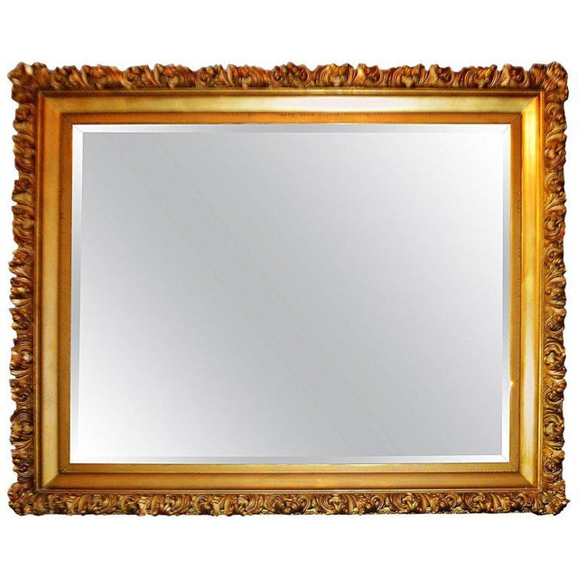 Gold 19th Century Italian, Gilded Large Mirror Hand Carved on Wood and Plaster For Sale - Image 8 of 8