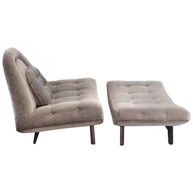 Freshly reupholstered and the frame refinished lounge chair and ottoman by Adrian Pearsall from the 1960s. The biscuit...