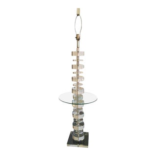 Vintage Geometric Lucite Floor Lamp Table For Sale