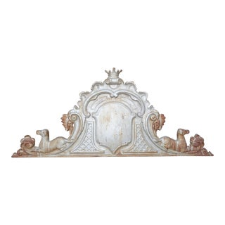 19th Century Antique Heavy Cast Iron Whippet Pediment