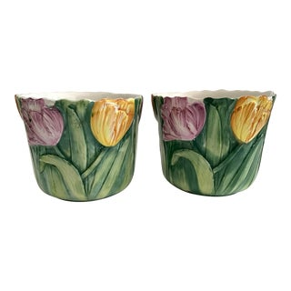 Small Cachepots With Tulip Motifs - a Pair For Sale