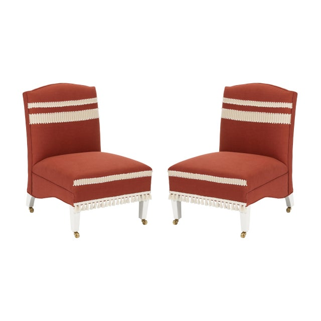 Casa Cosima Sintra Chair in Paprika Linen, a Pair For Sale - Image 11 of 11