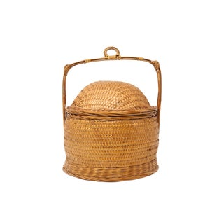 Vintage Bamboo and Rattan Lidded Rice Bowl With Handle For Sale
