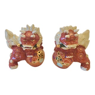 Vintage Chinoiserie Foo Dogs - a Pair For Sale