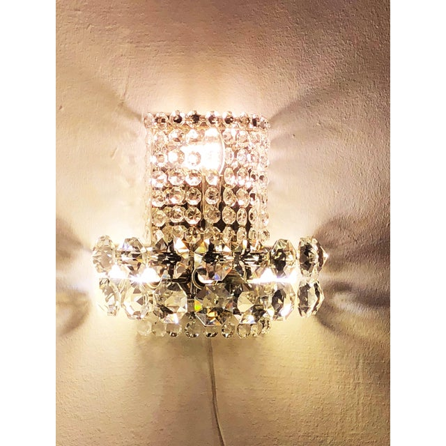 Pair of Large Crystal Sconces by Bakalowits and Sohne For Sale - Image 10 of 13