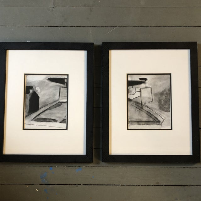 1970s Vintage Original Abstract Landscape Pastel Drawings a Pair For Sale - Image 5 of 5