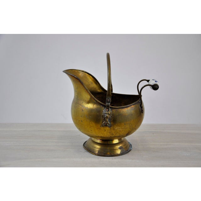 French Vintage Brass Helmet Coal Scuttle For Sale - Image 3 of 11