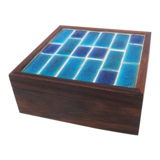 Vintage Midcentury Modern Danish Rosewood & Tile Trinket Box For Sale