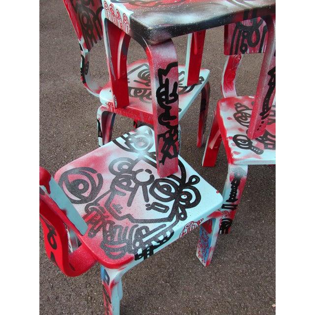 Graffiti Painted Children's Thonet Chairs - Set of 4 - Image 11 of 11
