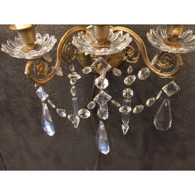 Napoleon III Bronze and Crystal Sconces - A Pair For Sale - Image 6 of 9
