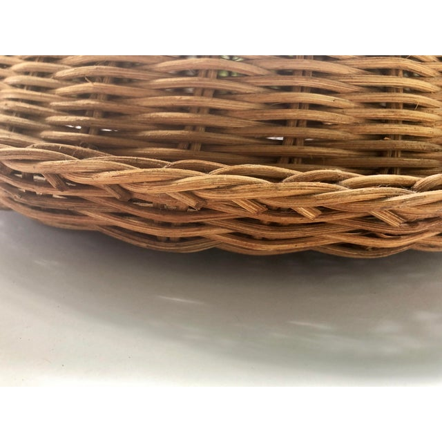 Large French Cloche Cheese Bell in Natural Woven Wicker Rattan With Leather Handle For Sale - Image 12 of 13