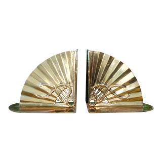 Mid-Century Hollywood Regency Brass Bookends For Sale