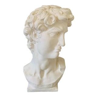 1990s Plaster Bust of David Sculpture