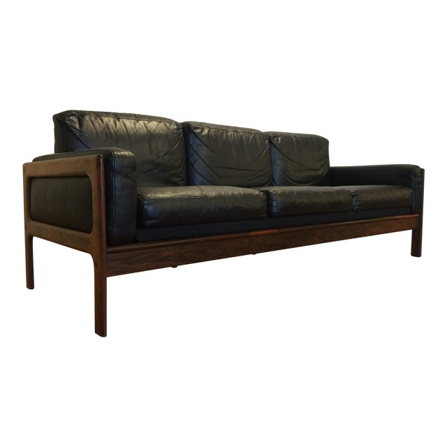 Komfort Mid Century Rosewood & Leather Sofa For Sale