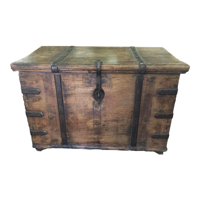 Antique Strong Box With Iron Straps For Sale