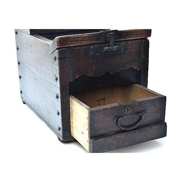 Antique Japanese Keyaki Money Box - Image 6 of 7